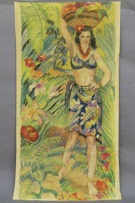 5: Hawaiian painted cloth panel
