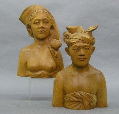 23: 2 Carved Bali Figures