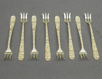 9: 8 Kirk Sterling cocktail forks