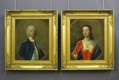 62: Pr of 18th century portraits