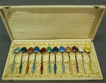 9 12 Enameled Sterling spoons