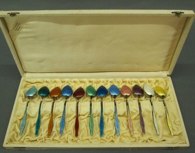 9: 12 Enameled Sterling spoons