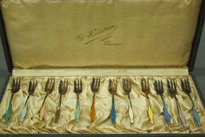 10: 12 Enameled Sterling forks