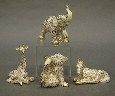 1: 4 Herend porcelain animals