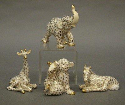 1: 4 Herend porcelain animals
