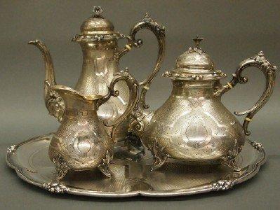 35: 4 pc Silver tea set