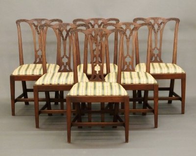 53: 6 Chippendale dining chairs