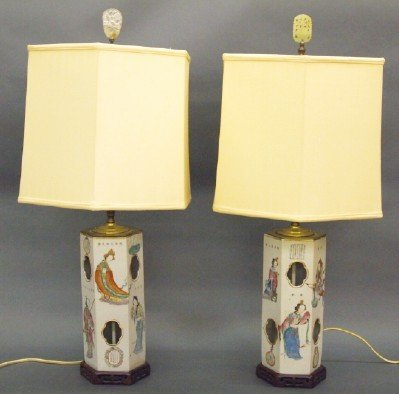 Pr Chinese porcelain lamps