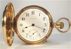 A W W Co 18 k Hunter case pocket watch