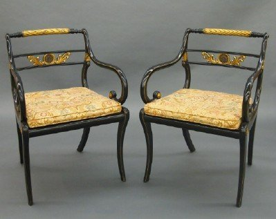 Pr of Neoclassical armchairs