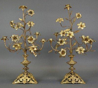 Gilt Metal floral candelabra