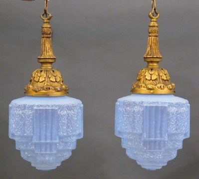 Pr of Art Deco Pendant lights