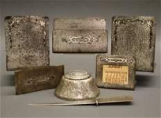 Silver Crest 7 pc Sterling/Bronze Desk Set