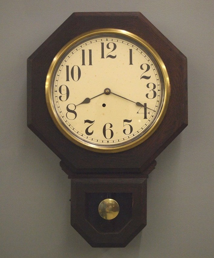 American short drop schoolhouse clock