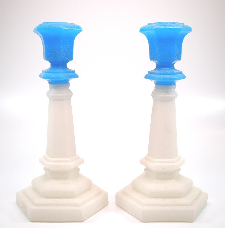 Pressed Hexagonal candlesticks, pair