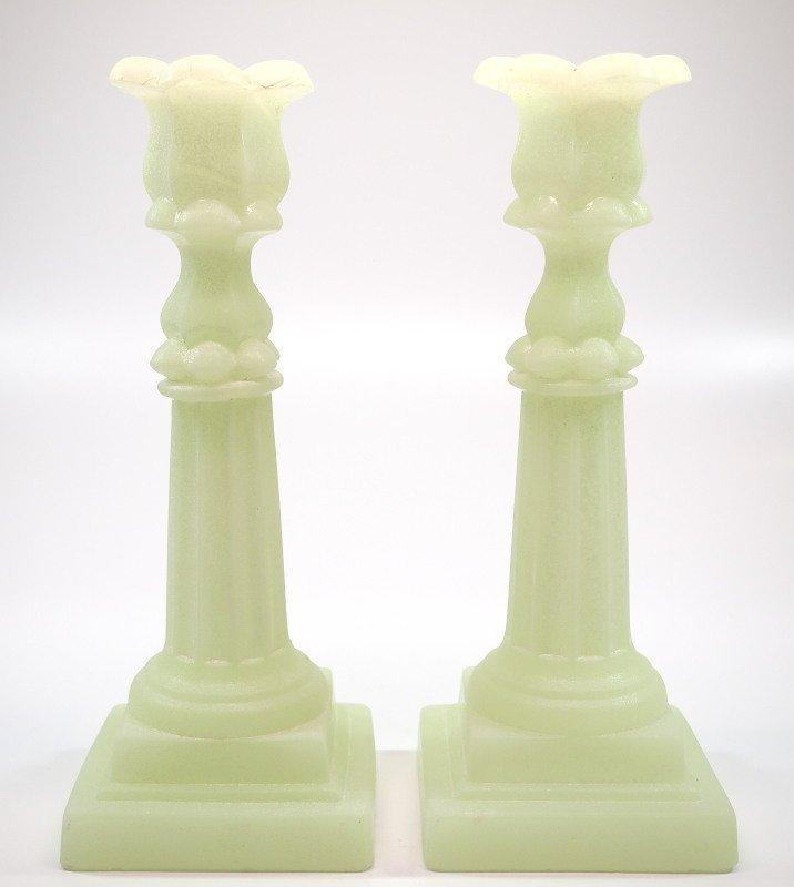 Pressed Petal & Columnar candlesticks, pair