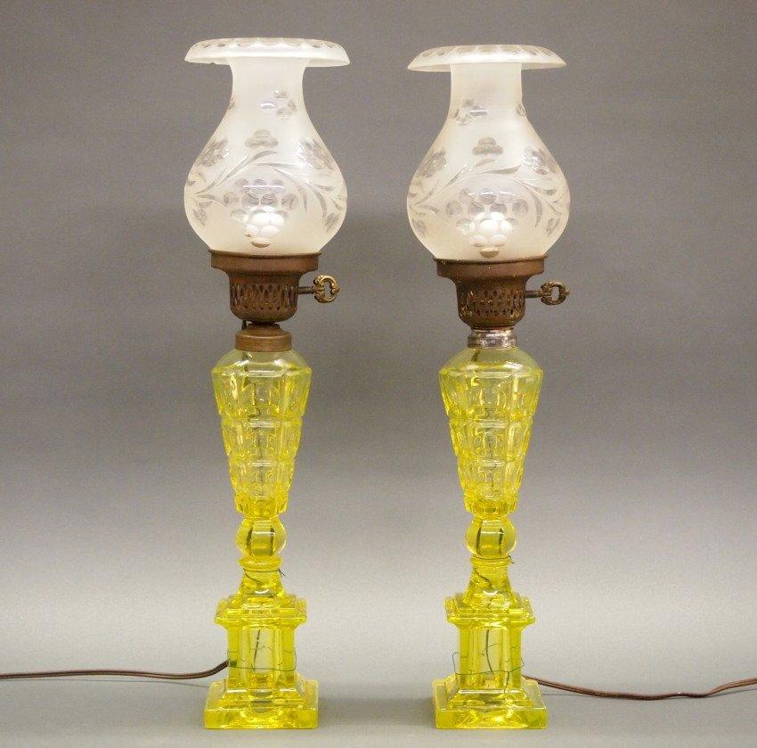 Pressed Four-Printie Block oil/fluid lamps, pair