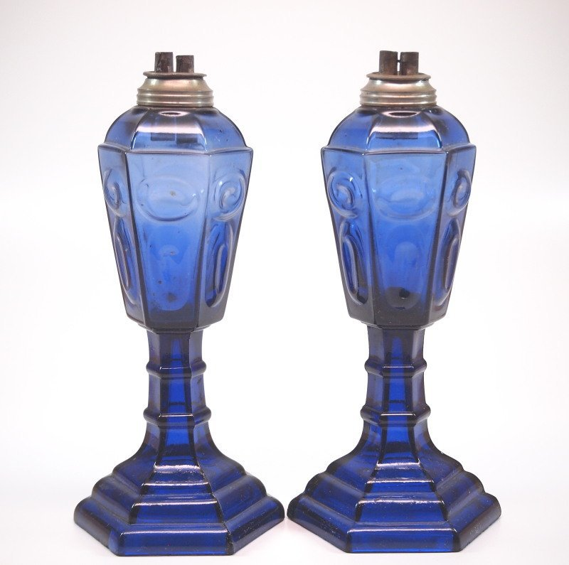 Pressed Circle and Ellipse oil/fluid lamps, pair