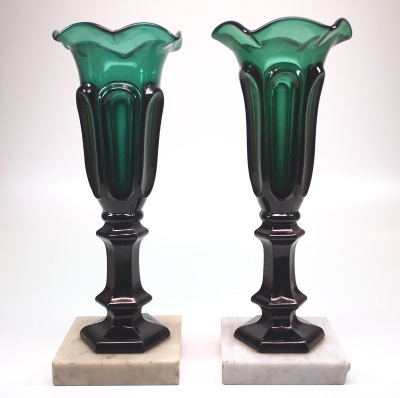 Pattern-molded vases, pair