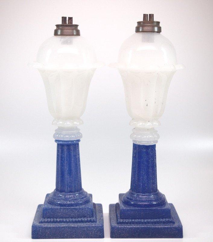 Pressed Tulip and Column oil/fluid lamps, pair