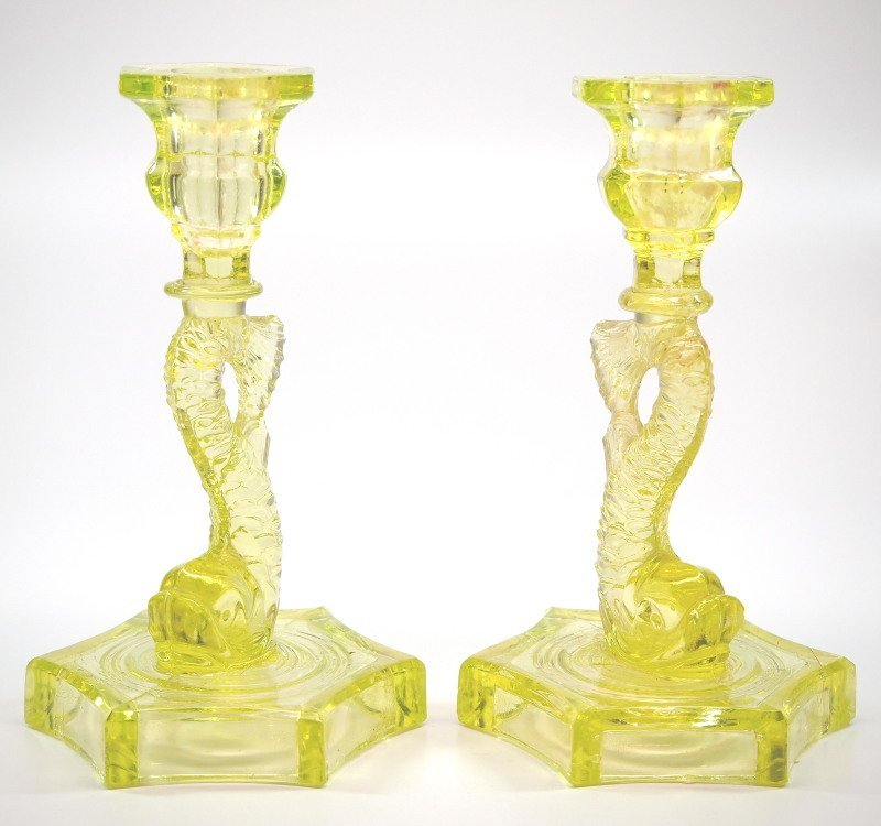 Pressed Dolphin candlesticks, pair