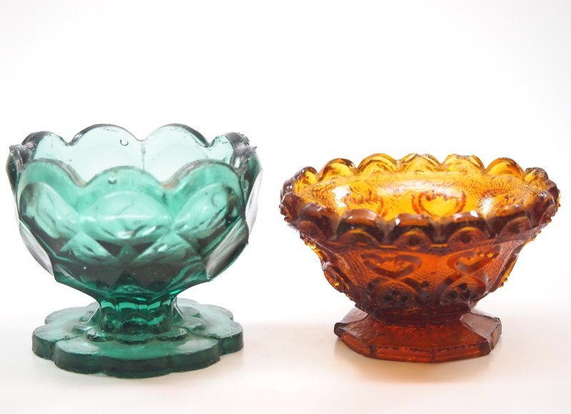 Pressed & lacy glass salt dishes, two