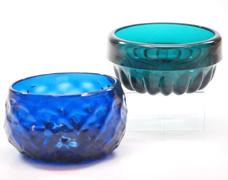 Pattern-molded salt dishes, two