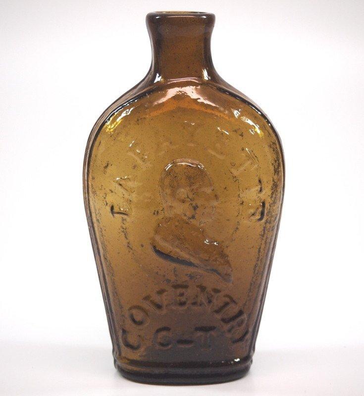 Pattern-molded Lafayette portrait flask