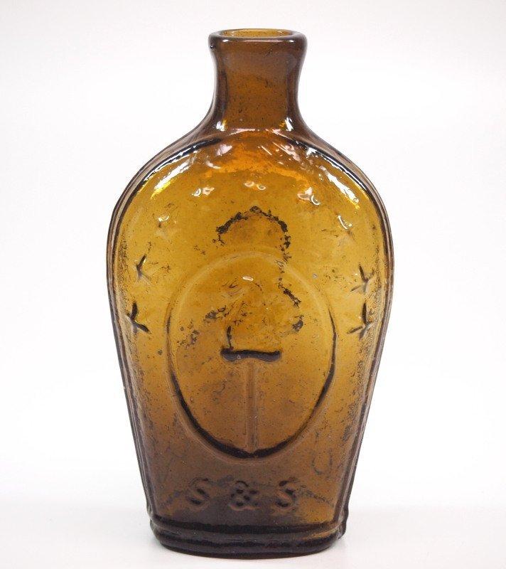 Pattern-molded Lafayette portrait flask - 2