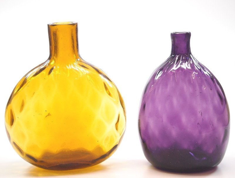 Pattern-molded flasks, two