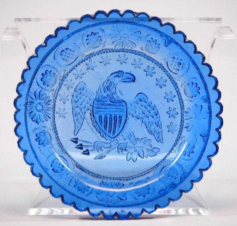 Lacy glass Eagle cup plate