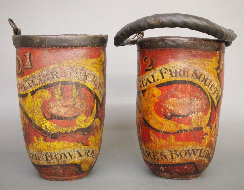 2 Leather Fire buckets