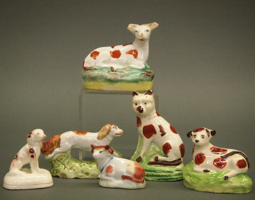 6 Staffordshire & porcelain spotted figures
