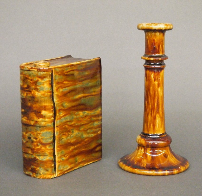 Rockingham candlestick and flask