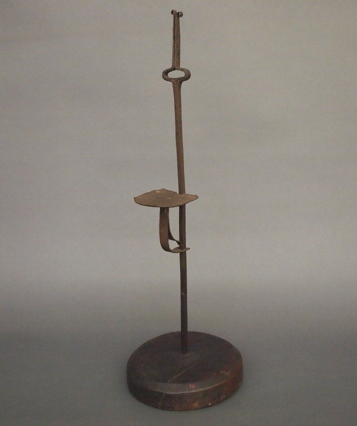 Iron and wood candle stand