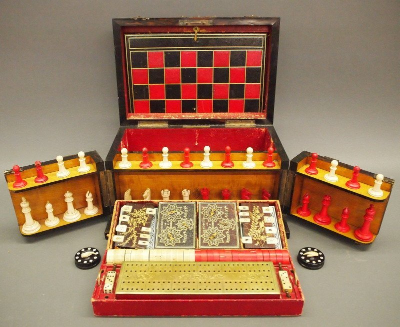 Victorian Traveling games box