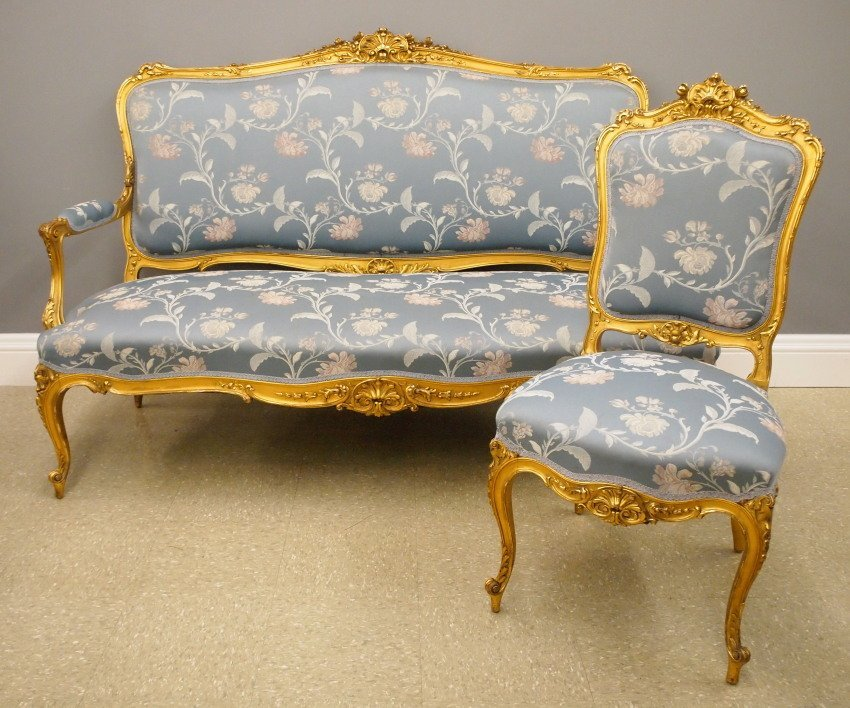 French Gilded settee and chair