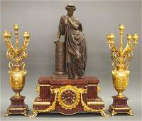 French Mantel clock and candelabra