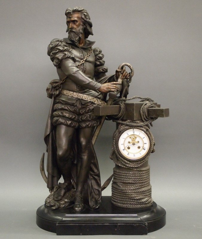 French Ponce de Leon Statue clock