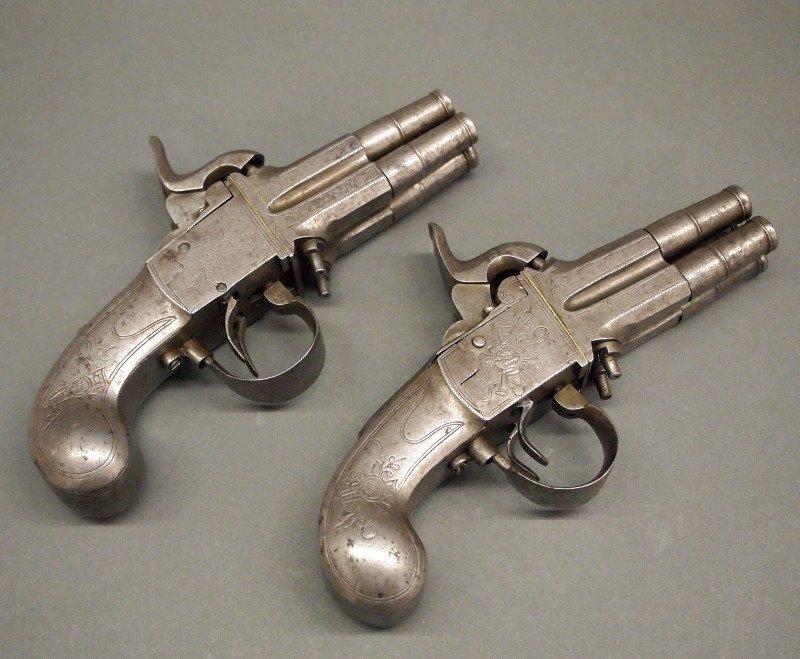 Pr 19th c four-barrel pistols