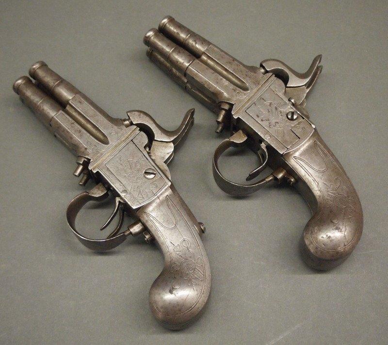 Pr 19th c four-barrel pistols - 4