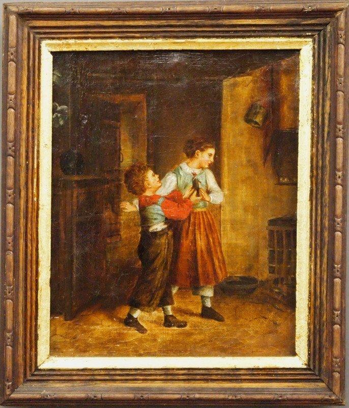 19th c. oil, genre scene
