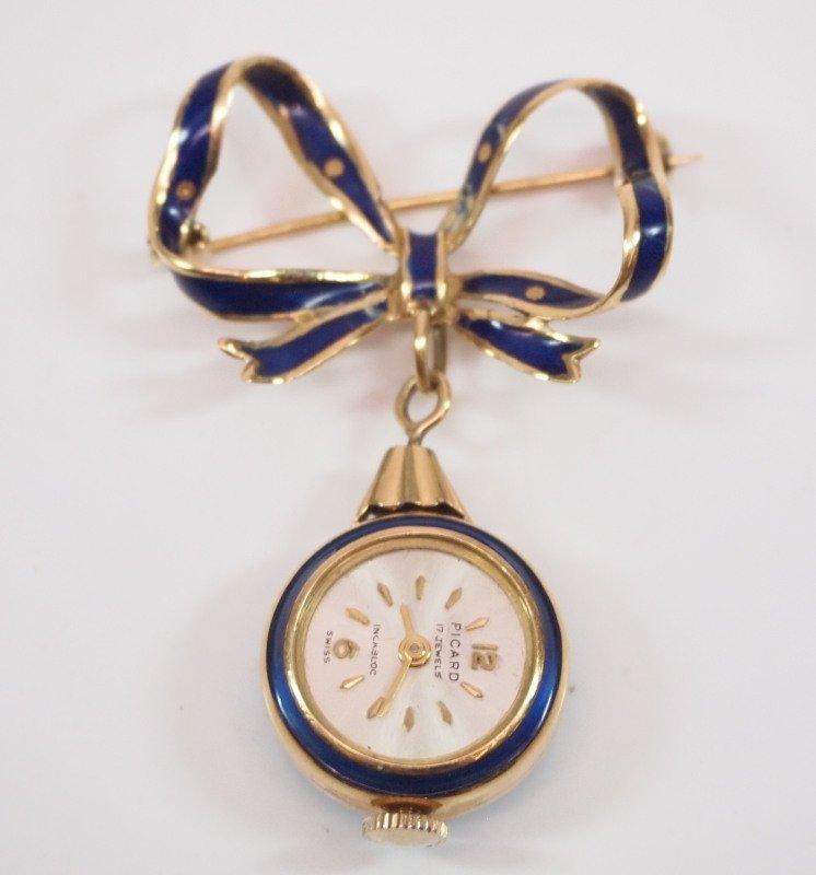 Enamel & 18kt gold pendant watch