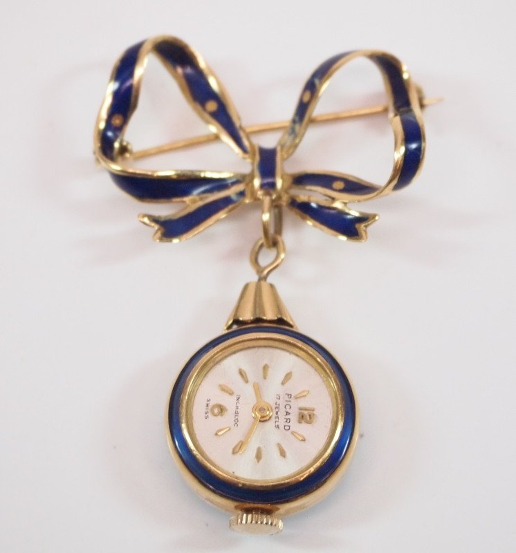 Enamel & 18kt gold pendant watch