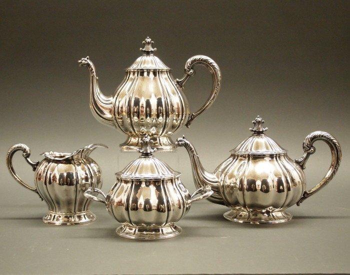 4 pc Peruvian Sterling tea & coffee set