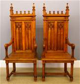 Pr Gothic Revival throne chairs