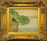 E Delobre woman in landscape