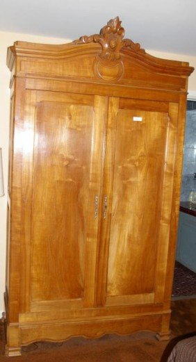 Cherry Wood Armoire ~ Antique french cherry wood armoire with lower draw