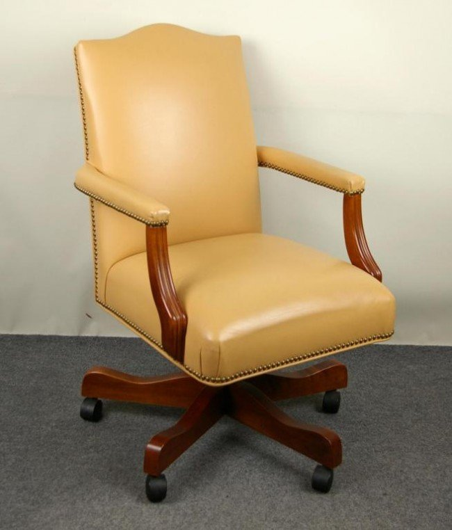 Ethan Allen Leather Office Chair : Lot 313