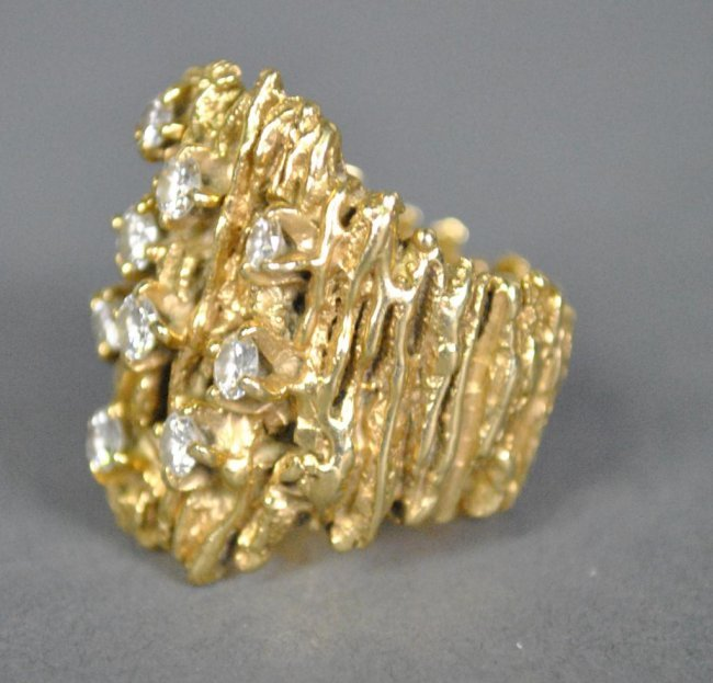 104 gold nugget ring 0 75ctw lot 104